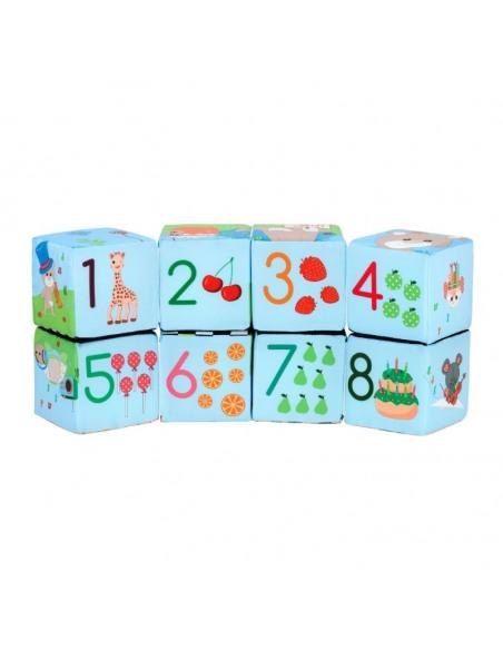 Cubo Puzzle mágico Sophie la girafe. Combinación números del puzzle.