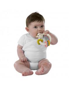 Sonajero Mordedor Colo'rings 100% hevea natural. Bebé mordiendo el Sonajero Mordedor con la cara de Sophie la girafe.