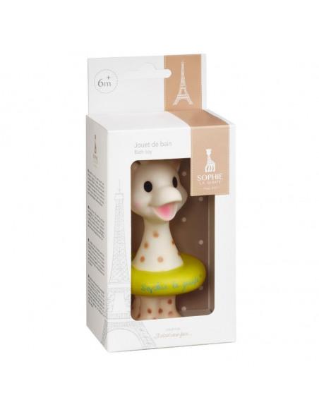Juguete baño Sophie la girafe. Caja Sophie la girafe  con flotador de color verde