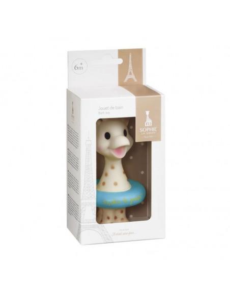 Juguete baño Sophie la girafe. Caja Sophie la girafe  con flotador de color azul