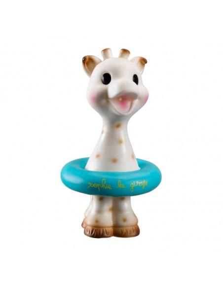 Juguete baño Sophie la girafe. Sophie la girafe  con flotador de color azul