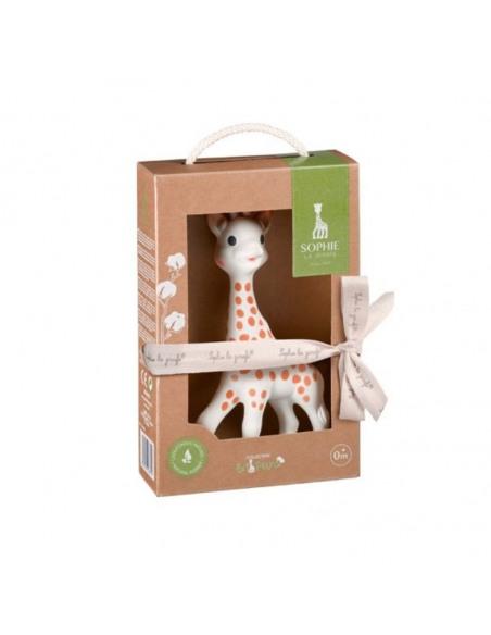 Sophie la girafe So'pure con su estuche regalo. Caja de cartón reciclado que contiene a Sophie la girafe.