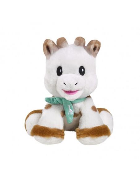 Peluche de la jirafa Sophie de frente de color blanco, marrón y azul..