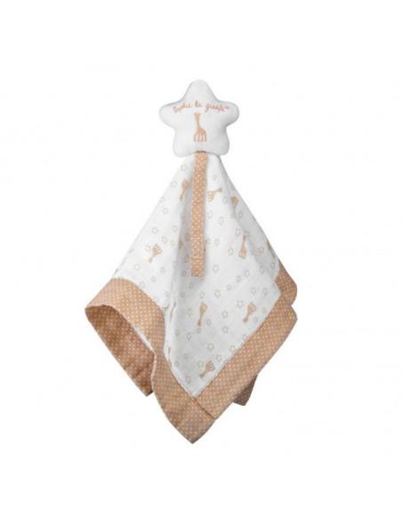 Doudou 100% algodón BIO Sophie la girafe. Doudou blanco con forma de estrella en la parte superior.