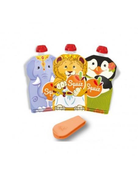 Set de 3 bolsas de alimentación reutilizable, SQUIZ Carnaval 130 ml. Tres bolsas con forma de elefante, león y pingüino.