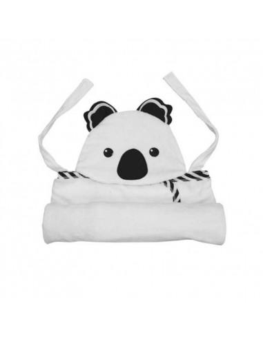 Capa de baño con forma de Koala blanca y negra plegada.