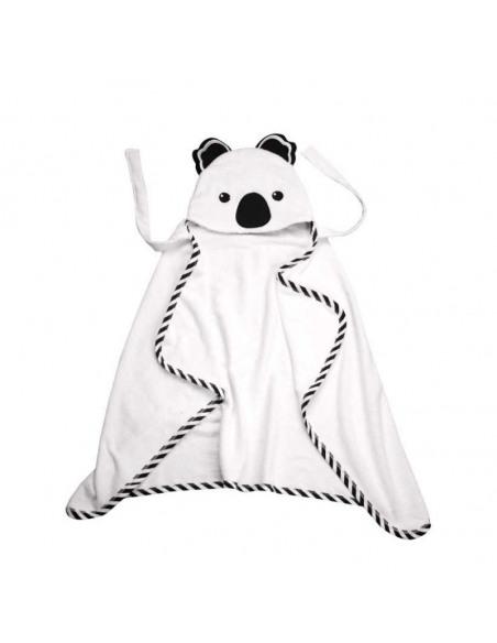 Capa de baño con forma de Koala blanca y negra.