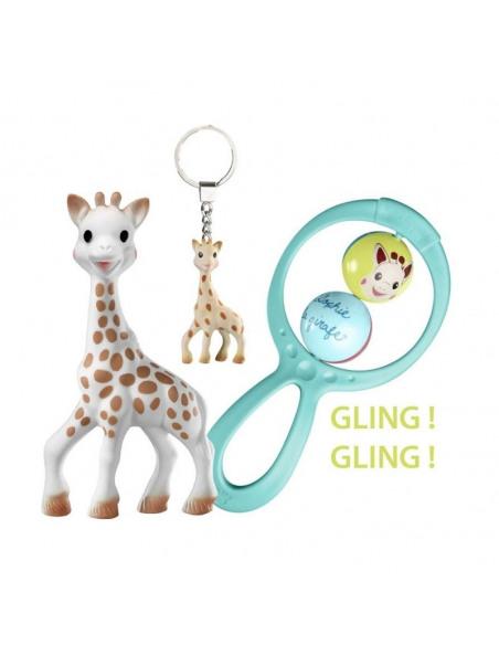 Caja de regalo Peluche Sophie Chérie + Sophie la Girafe y llavero de la jirafa Sophie