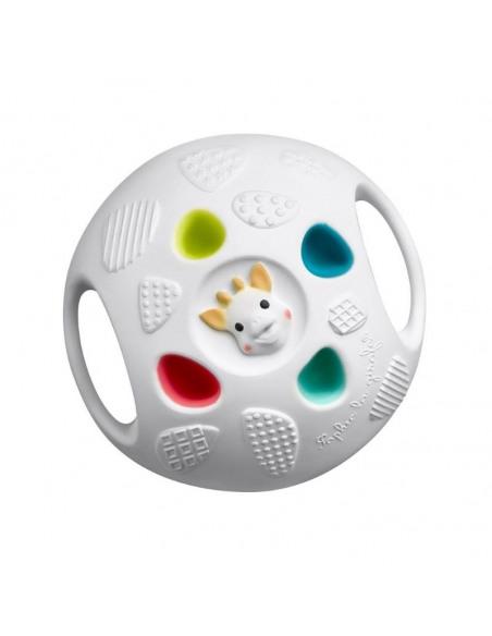 So'pure Senso'Ball Sophie la girafe. Pelota blanca con la cara de Sophie y agujeros de colores.