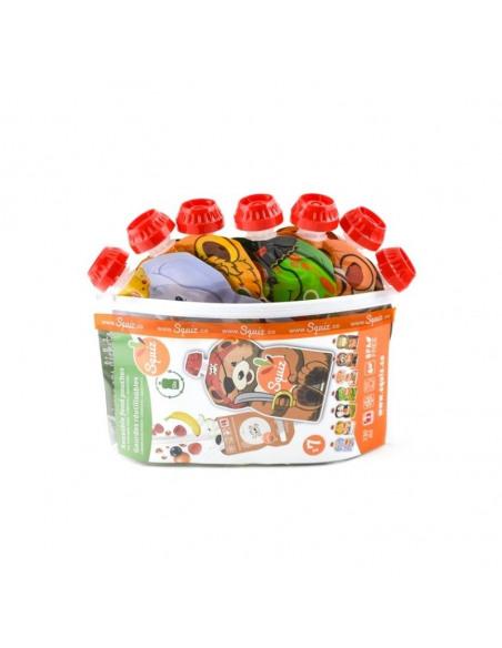Bolsas reutilizables con ilustraciones de animales en la caja.