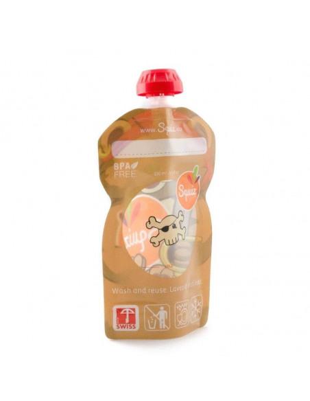 Bolsa de alimentación reutilizable con forma de oso por detrás.