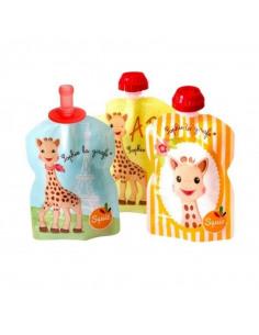 Set de 3 bolsas de alimentación reutilizable de la jirafa Sophie.