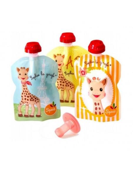 Set de 3 bolsas de alimentación reutilizable de la jirafa Sophie más una boquilla ergonómica.