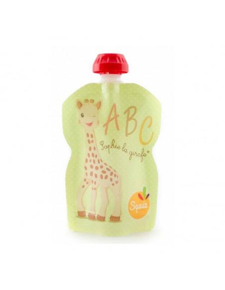 Bolsa de alimentación reutilizable de la jirafa Sophie verde por delante.