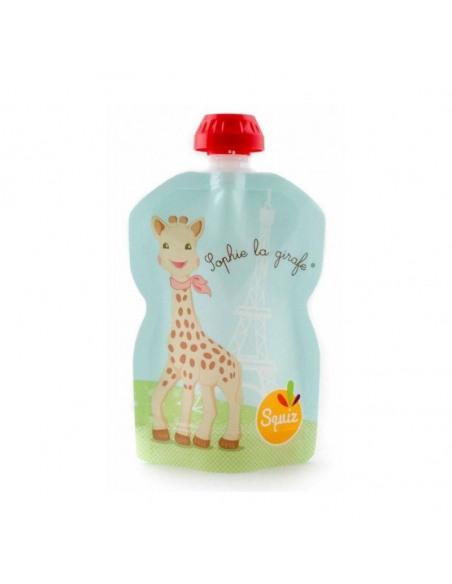 Bolsa de alimentación reutilizable de la jirafa Sophie azul por delante.