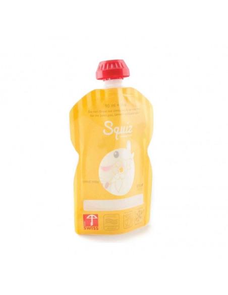 Bolsa de alimentación reutilizable de la jirafa Sophie naranja por detrás.