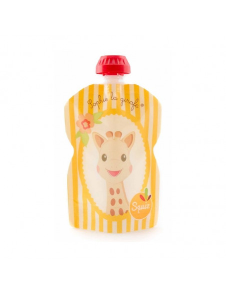 Bolsa de alimentación reutilizable de la jirafa Sophie naranja por delante.