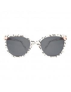 Gafas de sol con forma de mariposa con estampado zigzag de frente.