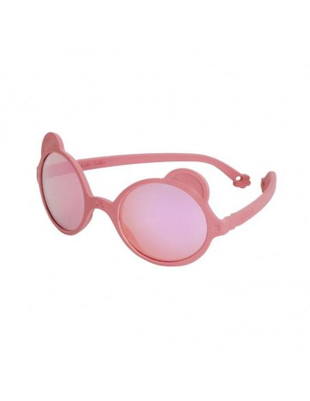 Gafas de sol con forma de osito de color rosa antik pink de perfil