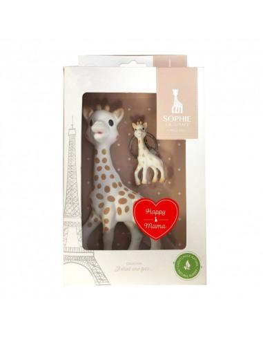Sophie la girafe Happy Mama. Mordedor y llavero de Sophie la girafe en la caja.