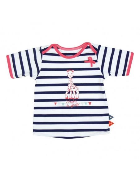 Camiseta de baño manga corta de rayas para niña