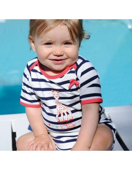 Bebé con camiseta de baño manga corta de rayas para niña
