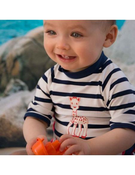 Bebé com T-shirt de banho manga curta com filtro UV - Menino