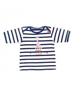 Camiseta de baño manga corta de rayas para niño