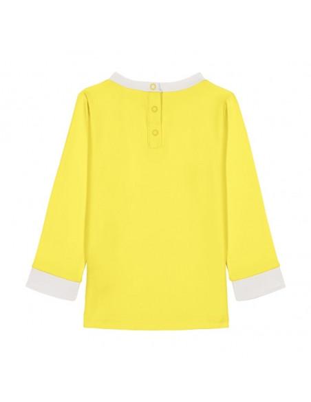 Camiseta Anti UV 18 meses Amarillo. Camiseta de color amarillo para niños por detrás.