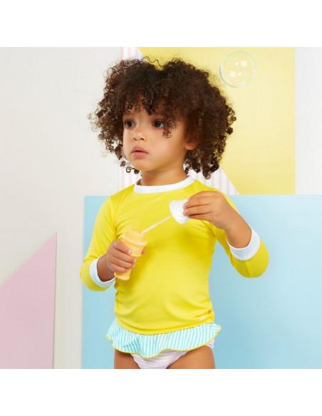 Bebé con la camiseta de baño Amarillo