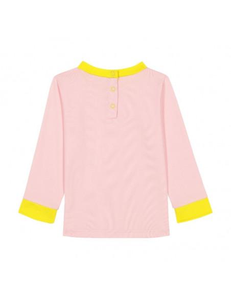 Camiseta Anti UV 12 meses Rosa. Camiseta para bebé de color rosa y amarillo por detrás.