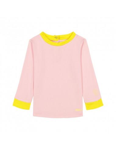 Camiseta para bebé de color rosa y amarillo.