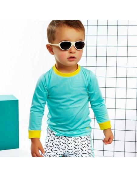 Bebé con la camiseta de baño Anti UV Verde