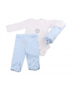 Caja de regalo Casita (incl. body con imprimé, pantalón y arrullo de algodón dulce) azul