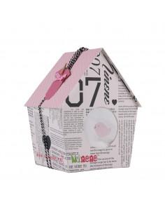 Caja de regalo Casita (incl. body con imprimé, pantalón y arrullo de algodón dulce) rosa
