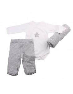 Caja de regalo Casita (incl. body con imprimé, pantalón y arrullo de algodón dulce) gris