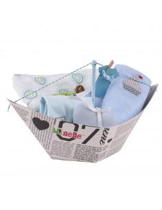 Caixa para oferta Barquinho (incl. Body com aplique, fralda XXL, lenço, fralda pequena com aplique e coração de tela)  · Azul