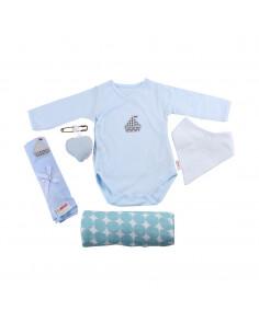 Caja de regalo Barquito (incl. body con imprimé, muselina XXL, bandana, gasa y corazoncito de tela) azul