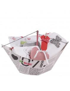 Caja de regalo Barquito (incl. body con imprimé, muselina XXL, bandana, gasa y corazoncito de tela) gris