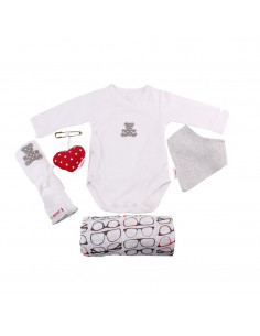 Caja de regalo Barquito (incl. body con aplique, muselina XXL, bandana, gasa con aplique y corazoncito de tela) gris