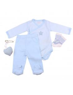 Caja de regalo Case (incl. body a rayas con aplique, pantalón, calcetines y corazoncito de tela) azul