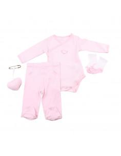 Caja de regalo Case (incl. body a rayas con aplique, pantalón, calcetines y corazoncito de tela) rosa