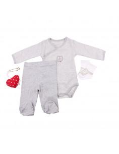 Caja de regalo Case (incl. body a rayas con aplique, pantalón, calcetines y corazoncito de tela) gris
