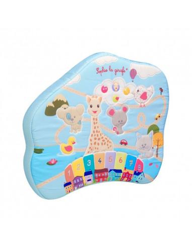 Touch & play board. Tablero interactivo multicolor con diferentes dibujos de animales como la jirafa Sophie.