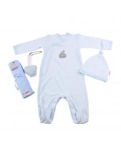 Caja de regalo Gift (incl. pijama a rayas con aplique, gorrito, gasa con aplique y corazoncito de tela) azul