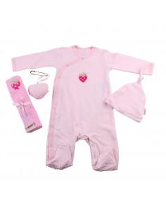 Caja de regalo Gift (incl. pijama a rayas con aplique, gorrito, gasa con aplique y corazoncito de tela) rosa