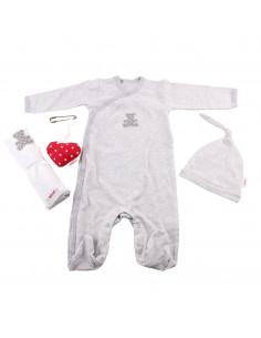 Caja de regalo Gift (incl. pijama a rayas con aplique, gorrito, gasa con aplique y corazoncito de tela) gris