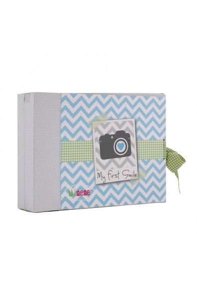 Caja de regalo Marco (incl. body con aplique, pantalón y gorrito) azul