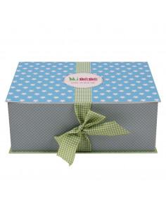 Caja de regalo Lujo (incl. body con aplique, pantalón, gorrito, arrullo de algodón dulce y corazoncito de tela) azul