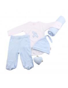 Caja de regalo Lujo (incl. body con imprimé, pantalón, gorrito, arrullo de algodón dulce y corazoncito de tela) azul